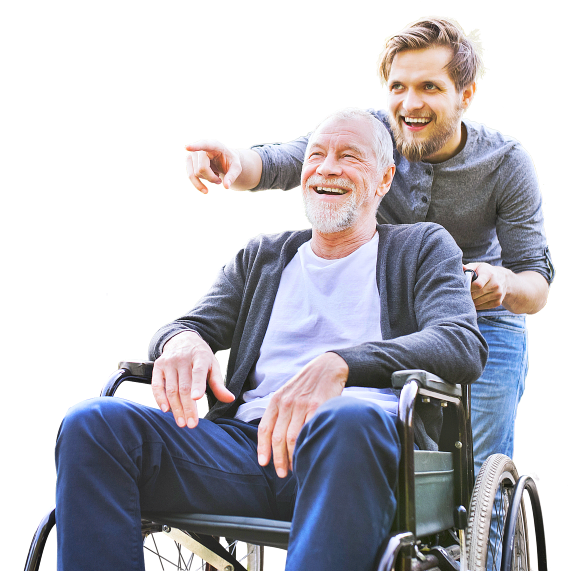 senior man on a wheelchair with a young male caregiver