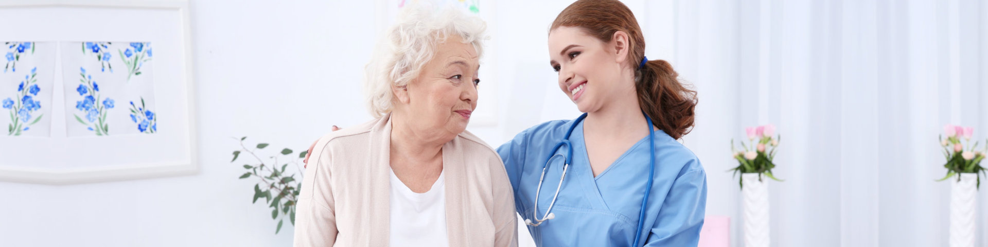 young nurse with her senior patient